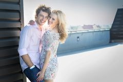 Attrctive couple smiling royalty free stock photography