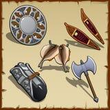 Attrezzatura d'annata di un guerriero medievale, cinque oggetti Fotografia Stock