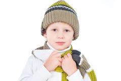 Attrezzatura da portare di inverno del ragazzino isolata su bianco Immagini Stock Libere da Diritti