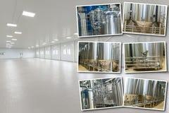 Attrezzatura del collage per produzione della birra Fotografie Stock