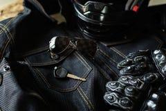 Attrezzatura del motociclista e degli accessori Fotografia Stock