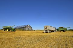 Attrezzatura del raccolto in un giacimento di grano Fotografia Stock
