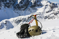 Attrezzatura dell'alpinista di inverno Immagine Stock Libera da Diritti