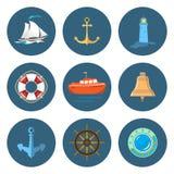 Attrezzatura della barca a vela, del faro e della nave Immagine Stock Libera da Diritti