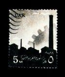 Attrezzatura della fabbrica ed ingranaggio, serie di simboli nazionali, circa 1960 Immagine Stock Libera da Diritti