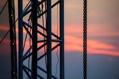 Attrezzatura della fase sul tramonto ad un festival rock Fotografie Stock