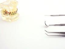 Attrezzatura dentaria su fondo bianco Fotografia Stock Libera da Diritti