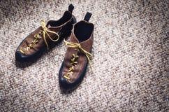 Attrezzatura di alpinismo e di scalata su un tappeto Scarpe, carabina, corda, balzo, chi ascende Concetto dello sport all'aperto  Immagini Stock