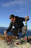 Attrezzatura di arrampicata, Bariloche, Patagonia, Argentina fotografia stock