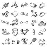 Attrezzatura di forma fisica per l'esercitazione, eseguente pista, simulato della bicicletta royalty illustrazione gratis