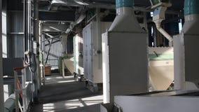 Attrezzatura di macinazione di farina nella pianta video d archivio