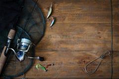 Attrezzatura di pesca - filatura di pesca immagini stock