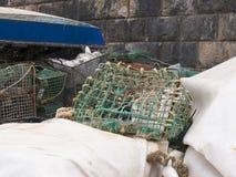 Attrezzatura di pesca sul porto a Cascais a Estoril vicino a Lisbona Portogallo Fotografia Stock