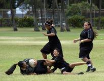 Attrezzatura di rugby della ragazza Fotografie Stock