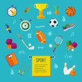 Attrezzatura di sport ed insieme dell'icona di stile di vita illustrazione vettoriale