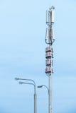Attrezzatura di telecomunicazione su un fondo del cielo Primo piano Fotografia Stock
