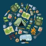 Attrezzatura di turismo e di campeggio Immagini Stock