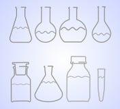 Attrezzatura di vetro del laboratorio del cavo Fotografie Stock