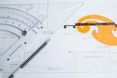 Attrezzatura e pianificazione dell'architetto Fotografia Stock