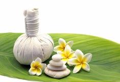 Attrezzatura e plumeria di massaggio Immagini Stock Libere da Diritti
