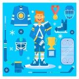 Attrezzatura ed atleta dell'uniforme dell'hockey di vettore L'hockey copre le attrezzature e gli accessori Fotografia Stock