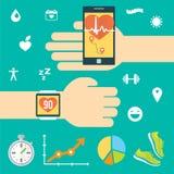 Attrezzatura moderna di tecnologia per il controllo della salute Smartphone, smartwatch Priorità bassa per una scheda dell'invito Fotografia Stock