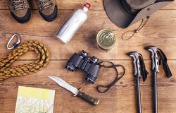 Attrezzatura per fare un'escursione Immagini Stock Libere da Diritti