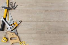 Attrezzatura per l'edilizia su legno Immagini Stock Libere da Diritti