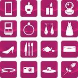 Attrezzatura per l'icona di signora sul bottone rosa illustrazione di stock