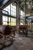 Attrezzatura - pianta abbandonata di concentrazione nell'acido solforico - Indiana Army Ammunition Depot - l'Indiana abbandonate fotografia stock