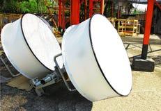 Immagine dettagliata delle comunicazioni della parte con un'antenna di telecomunicazione Fotografia Stock