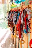 attrezzatura rampicante - corda blu e nera del carabiner, di rosso, sulla parete di legno, allenamento Fotografia Stock Libera da Diritti