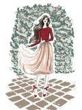 Attrezzatura romantica di stile della via dello schizzo della donna illustrazione vettoriale