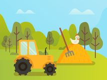 Attrezzature agricole, trattore e fieno con Hen Nature royalty illustrazione gratis