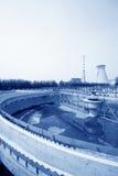 Attrezzature del fabbricato di trattamento di acque luride Fotografie Stock Libere da Diritti