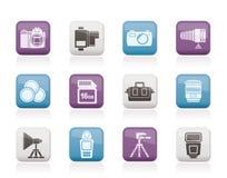 Attrezzature di fotographia ed icone degli strumenti Fotografia Stock