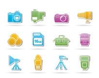 Attrezzature di fotographia ed icone degli strumenti Immagine Stock Libera da Diritti
