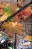 Attrezzature di pesca a bordo con l'autunno delle foglie Fotografia Stock