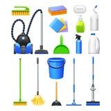 Attrezzature per la pulizia Kit Flat Icons Set Immagini Stock Libere da Diritti