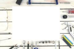 Attrezzi per bricolage e parti della costruzione Fotografia Stock