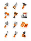 Attrezzi per le icone piane di manutenzione e della costruzione messe illustrazione di stock