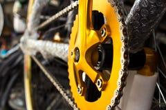 Attrezzo e catena della bici di montagna Fotografie Stock