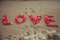 Attribuez un libelle l'amour de mot dans le sable de la mer. Aimez l'inscription des pétales des roses. Photo libre de droits