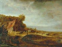 Attribuito a Govert Flinck - paesaggio con un'azienda agricola e un ponte, 1640 fotografia stock