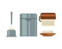 Attribut för gemensam tecknad film för toalett isolerade sanitära illustrationuppsättningen royaltyfri illustrationer
