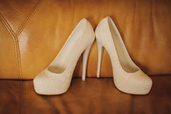 Attribute bride. Wedding high-heeled shoes Royalty Free Stock Photography