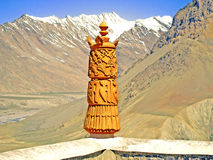 Attribute of Buddhism. Dhankar Gompa Monastery, Spiti Valley, India Royalty Free Stock Image
