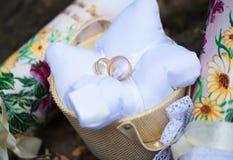 Attribute der Hochzeit, Eheringe des gelben Metalls auf einem weißen Kissen Lizenzfreie Stockbilder
