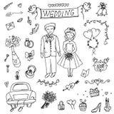 Attributen av bröllopet, bruden och brudgummen, förälskelse, bröllop, klotter stock illustrationer