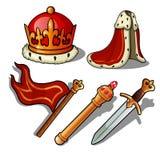 Attributen av konungen Kröna, täcka, banret, spiran och svärdet också vektor för coreldrawillustration royaltyfri illustrationer